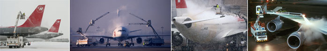 Series of photos of aircraft being de-iced