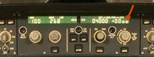 Magnified photo of (post-accident) modified Flight Control Unit showing zeros added to Vertical Speed mode