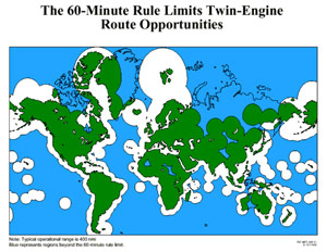Map of the world showing areas in white that can be reached in 60 minutes with one engine inoperative