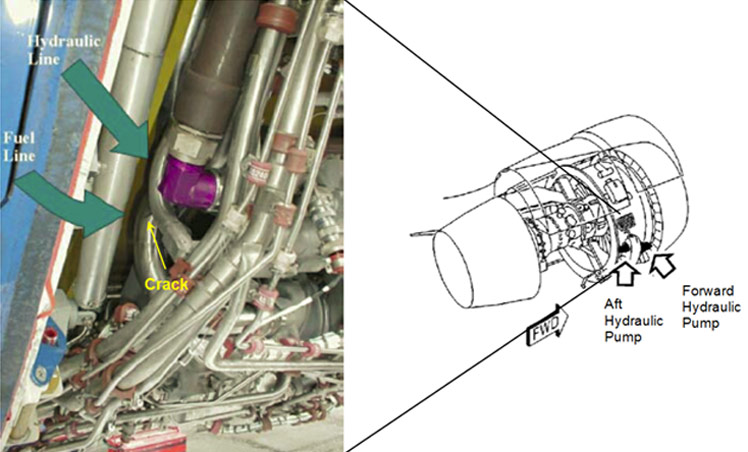 Accident aircraft hydraulic and fuel line installation