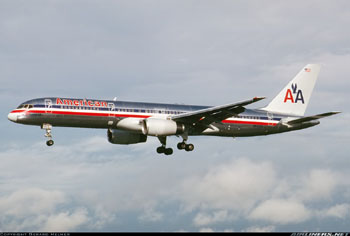 Photo of the accident airplane (N651AA) on approach to Miami in 1991