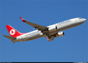 Photo of a Turkish 737 in flight