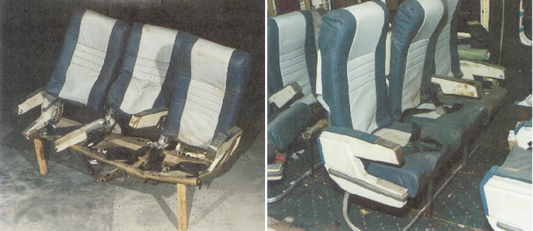 Photos of damaged seat from British Midlands Flight 092 accident investigation