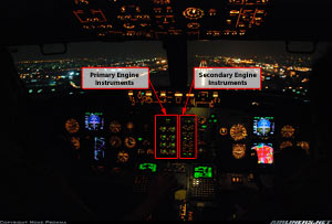 Photo of 737 Flight Deck indicating Engine Instruments