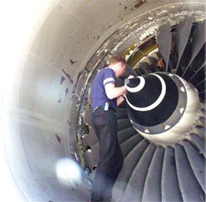 An example of a turbofan engine after a fan blade failure