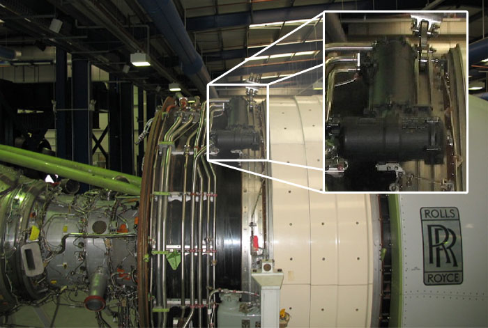 boeing 777/rr trent 800 engine installation, showing the fohe/fuel filter  location