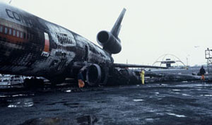 Wreckage of Flight 603 following takeoff about and resulting ground fire