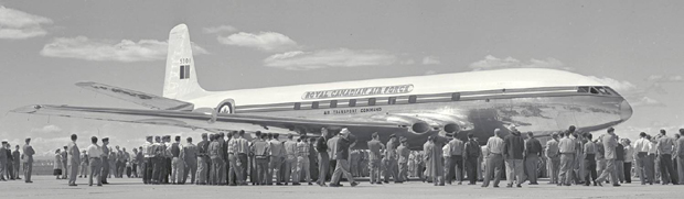 Photo of a Royal Canadian Air Force Comet with crowd