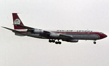 Photo of a Dan-Air Boeing Model 707-300 on approach for landing