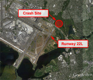 Google Earth view of JFK, Showing Crash Site