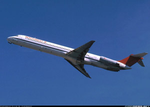 Photo of Northwest DC-9-82 after takeoff