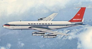 Northwest Airlines Boeing 720B Post Card Photo