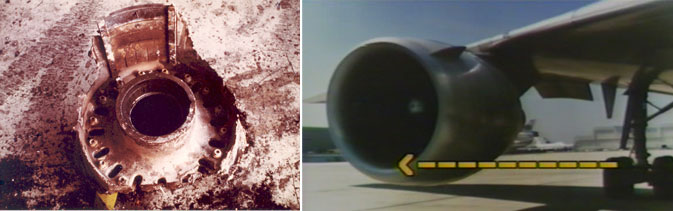 GEAE photos of wheel fragment and illustration of proximity of main landing gear wheels/tires to the No. 3 engine