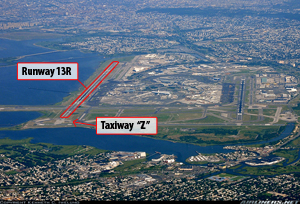 Photo of JFK. Runway 13R is the long runway at the left edge, paralleling the shoreline. An airplane on Runway 13R would be moving directly toward the viewer.