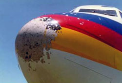 Photo of TACA flight 110 hail damage to radome