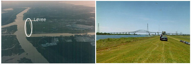 Photos of aerial view and ground view of levee