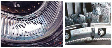 Photo of turbine damage to engine - NTSB docket photo