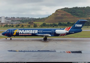 Photo of Fokker 100 PT-MRK, the accident airplane in its one-of-a-kind livery
