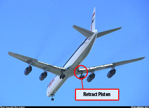 Photo of DC-8 with extended landing gear showing retract piston