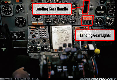 DC-8 Instrument Panel showing landing gear indicator lights