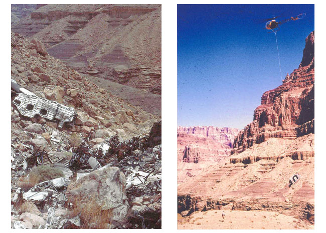 Pieces of the TWA Super Constellation strewn over the Grand Canyon (left), DC-7 wreckage is removed by Helicopter (right)