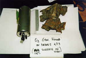 NSTB photo of recovered oxygen generator